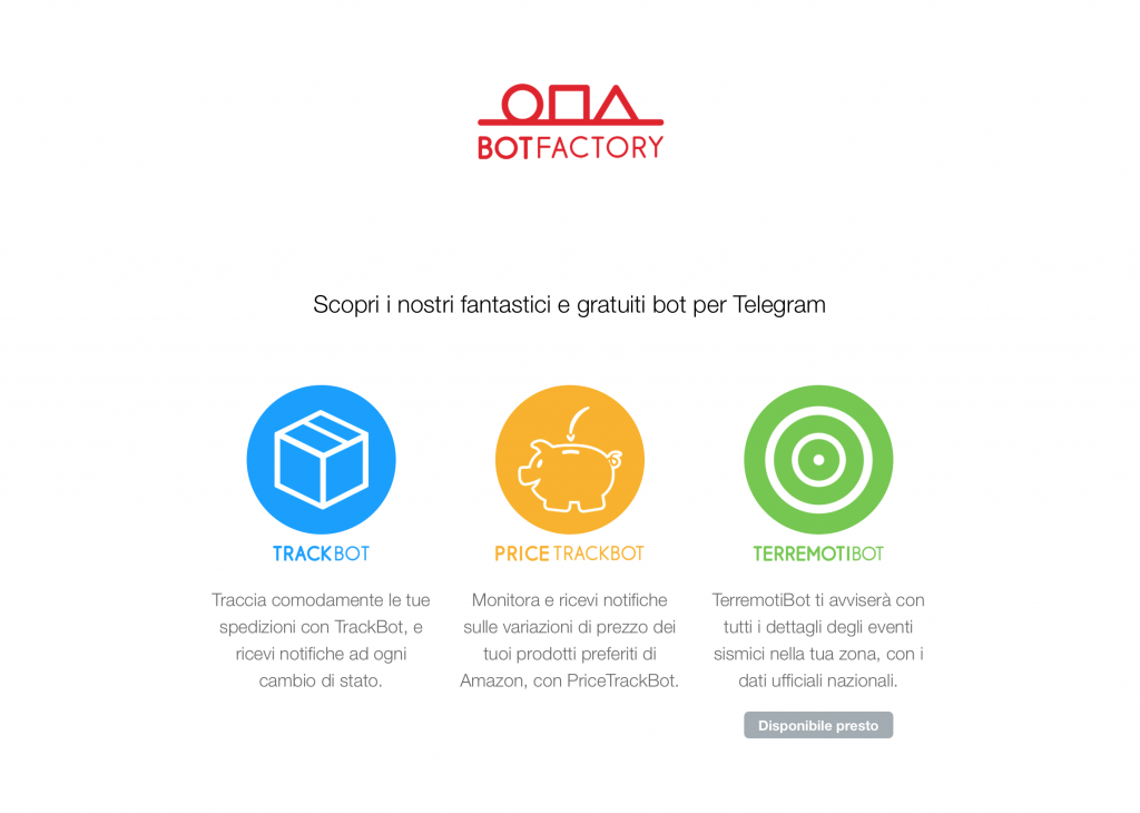 Home page sito BotFactory